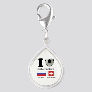 RUSSIA-SWITZERLAND Silver Teardrop Charm